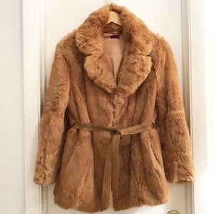 VTG 100% Rabbit Fur Coat Tan Size Small/Medium